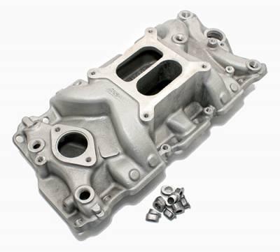 Intake Manifolds - Carbureted Intake Manifolds - Assault Racing Products - SBC Small Block Chevy 350 Performance Aluminum Intake Manifold Dual Plane 383