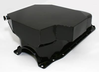 Oil Pans - Street Oil Pans - Assault Racing Products - SBC Small Block Chevy Champ Style Black Oil Pan 8QT 86+ 1 Piece Rear Main Vortec