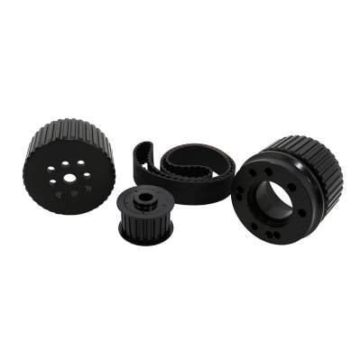 Cooling - Pulleys, Belts & Kits - Assault Racing Products - SBC Small Block Chevy Billet Black Aluminum Gilmer Belt Drive Pulley Kit 350 400