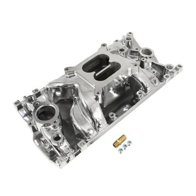 Intake Manifolds - Carbureted Intake Manifolds - Assault Racing Products - SBC Small Block Chevy 1996-2002 Vortec Air Gap Polished Aluminum Intake 305 350