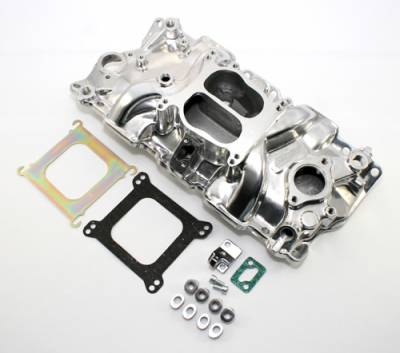 Intake Manifolds - Carbureted Intake Manifolds - Assault Racing Products - SBC Small Block Chevy 350 327 307 Aluminum Intake Dual Plane Polished 68-95 V8