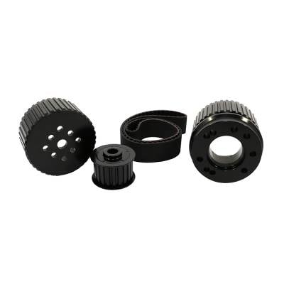 Cooling - Pulleys, Belts & Kits - Assault Racing Products - SBF Small Block Ford Billet Black Aluminum Gilmer Belt Drive Pulley Kit 302 351W