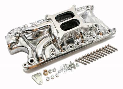 Intake Manifolds - Carbureted Intake Manifolds - Assault Racing Products - Small Block 289 302 347 FORD Polished Aluminum Intake Manifold Dual Plane