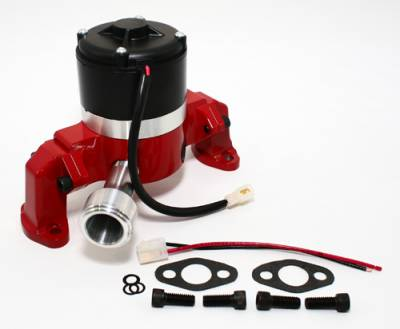 Cooling - Water Pumps - Assault Racing Products - Small Block Chevy 350 400 Electric High Volume Water Pump Powdercoated Red SBC