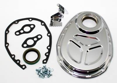 Valvetrain & Camshaft Components - Timing Covers, Timing Pointers & Accessories - Assault Racing Products - Small Block Chevy OE Roller 350 5.7L 305 5.0L Style Chrome Timing Cover Kit Set