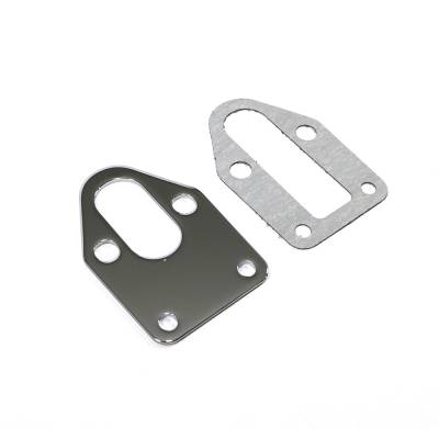 Fuel Injection  - Fuel Pumps, Regulators & Components - Assault Racing Products - Small Block Chevy Chrome Steel Fuel Pump Mounting Plate W/ Gasket SBC 350 400