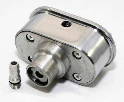 Engine Components & Valvetrain - Valve Covers & Accessories - Assault Racing Products - Retro Finned Polished Aluminum PCV Valve Cover Breather Push In with Raised Fins
