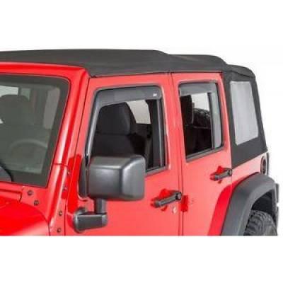 Jeep Accessories - Auto Ventshade - AVS 194249 In-Channel Window Ventvisor 4-Piece 2007-2018 Jeep Wrangler JK Unlimited