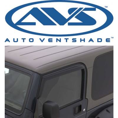 Jeep Accessories - Auto Ventshade - AVS 92054 Tape-On Dark Smoke Window Ventvisors 2-Piece 1997-2006 Jeep Wrangler