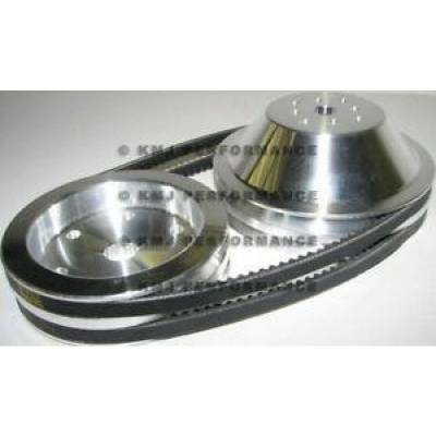 Cooling - Pulleys, Belts & Kits - Assault Racing Products - SBC Chevy 350 Short Water Pump and Crank Aluminum Pulley Kit 1:1 - Double Groove