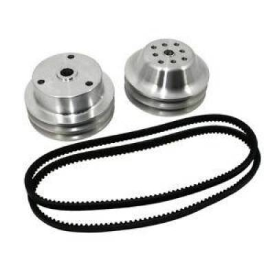 Cooling - Pulleys, Belts & Kits - Assault Racing Products - SBC Chevy 350 Long Water Pump and Crank Aluminum Pulley Kit 1:1 - Double Groove
