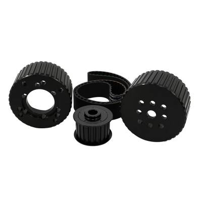 Cooling - Pulleys, Belts & Kits - Assault Racing Products - SBC Black Gilmer Belt Drive Pulley Kit Short Water Pump Billet Aluminum 350 400