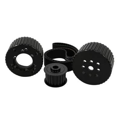 Cooling - Pulleys, Belts & Kits - Assault Racing Products - SBC Black Gilmer Belt Drive Pulley Kit Short Water Pump Billet Aluminum 350 400