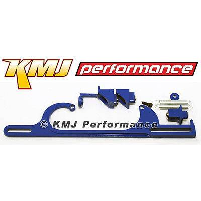 Carburetors & Components - Carburetor Linkage, Choke Kits & Components - KMJ Performance Parts - Holley 4150 4160 Carburetor Throttle Bracket Assembly Kit Powder Coated Blue