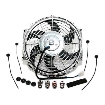 "Cooling - Electric Fans & Components - Assault Racing Products - 14"" Chrome Curved S-Blade Electric Radiator Cooling Fan Universal / Mounting Kit"