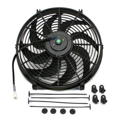 """Cooling - Electric Fans & Components - Assault Racing Products - Universal 14"""" Curved S-Blade Electric Radiator Cooling Fan with Mounting Kit"""