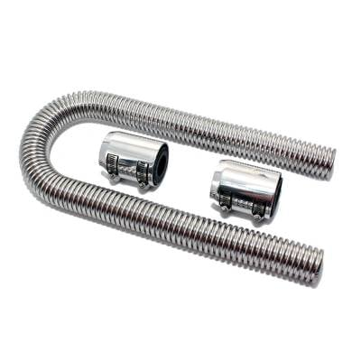 """Cooling - Radiator Hoses , Clamps, and Screens - Assault Racing Products - 36"""" Universal Polished Flexible Stainless Steel Radiator Hose Kit w/ Chrome Caps"""