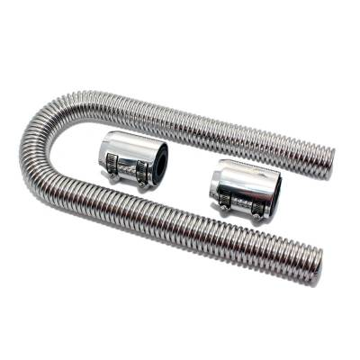 "Cooling - Radiator Hoses , Clamps, and Screens - Assault Racing Products - 36"" Universal Polished Flexible Stainless Steel Radiator Hose Kit w/ Chrome Caps"