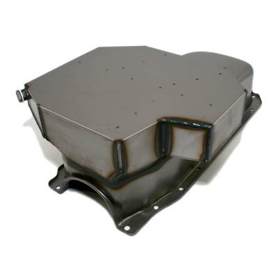 Oil Pans - Street Oil Pans - Assault Racing Products - 350 Small Block Chevy Champ Style Raw Oil Pan 8QT 86+ 1 Piece Rear Main Vortec