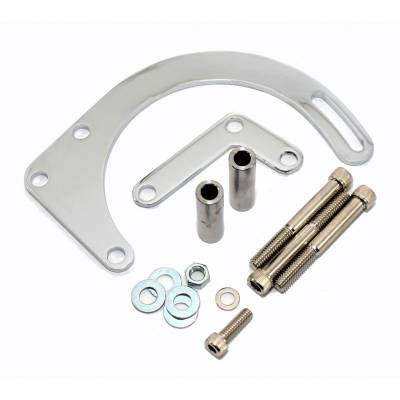 Alternators and Brackets - Brackets and Accessories  - Assault Racing Products - SBC Chevy 350 Chrome Low Mount Alternator Bracket - For Short or Electric Pump