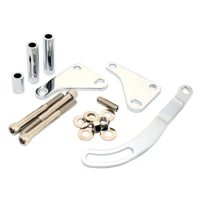 Steering - Power Steering Pumps & Accessories - Assault Racing Products - Small Block Chevy Saginaw Power Steering Bracket Chrome Steel SBC W/ Hardware
