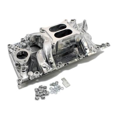 Intake Manifolds - Carbureted Intake Manifolds - Assault Racing Products - Small Block Mopar Polished Aluminum Air Gap Style Intake 318 340 360 5.9 Magnum