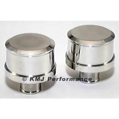 Valve Covers & Accessories - Valve Cover Accessories - KMJ Performance Parts - Pair Smooth Top Polished Aluminum Push In Valve Cover Breathers Washable Filter