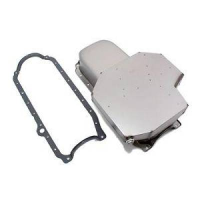 Oil Pans - Circle Track Oil Pans - KMJ Performance Parts - 350 Small Block Chevy Champ Style Raw 8Q Oil Pan 86+ 1 Piece Rear Main W/ Gasket