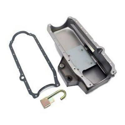 Oil Pans - Circle Track Oil Pans - KMJ Performance Parts - Small Block Chevy Champ Style Raw Oil Pan 86+ 1 Piece Main / HV Pickup Gasket