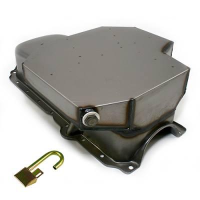 Oil Pans - Circle Track Oil Pans - KMJ Performance Parts - SBC CHEVY CHAMP STYLE OIL PAN 8 QT + TUBE 86+ 1 PC REAR