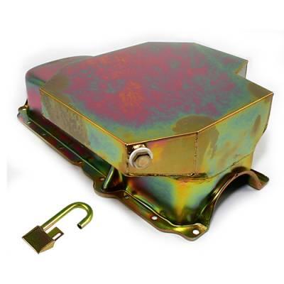 Oil Pans - Circle Track Oil Pans - KMJ Performance Parts - SBC CHEVY CHAMP STYLE ZINC OIL PAN 8 QT + TUBE 86+ 1 PC