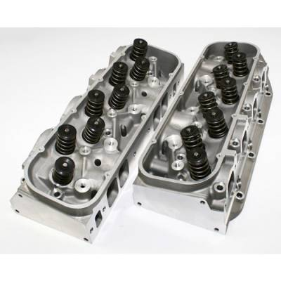 Cylinder Heads - Big Block Chevy Heads  - KMJ Performance Parts - PAIR of Chevy BBC 396 454 Rectangle Port Assembled Aluminum Cylinder Heads 122cc 330cc
