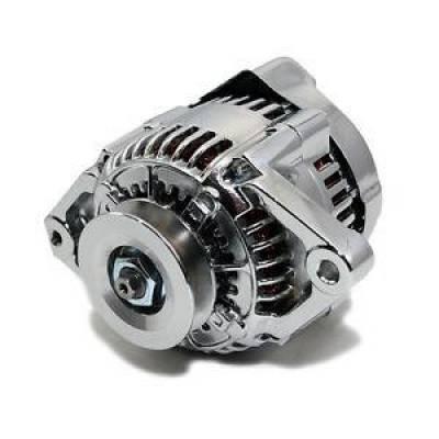 Starting & Charging - Alternators - KMJ Performance Parts - Chrome Mini 69AMP GM Denso Style Alternator V Belt 12V 1 Wire SBC BBC Chevy Race