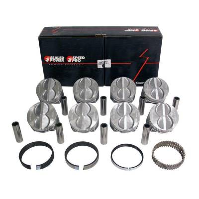 """Speed Pro - Speed Pro H273CP40 Ford SBF 289 302 Flat Top Pistons + Moly Rings Kit 4.040"""";"""