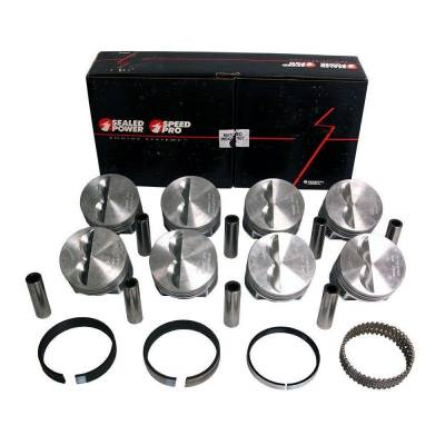 Speed Pro - Chevy SBC 327 Flat Top Pistons + Moly Rings SB .040