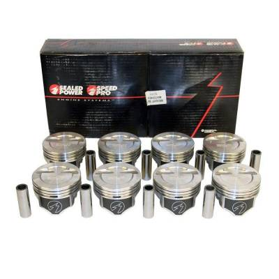 Speed Pro - Chevy Small Block 383 -12cc Dished Pistons + Moly Rings Kit 040 Over Bore 4.040