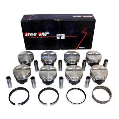 Speed Pro - Chevy 383 Flat Top Pistons + Moly Rings Kit 040 SBC 385