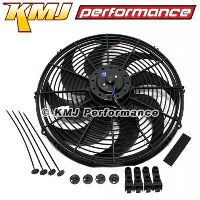 "Cooling - Electric Fans & Components - KMJ Performance Parts - Durable High CFM 12v Electric Curved S Blade 16""; Radiator Cooling Fan Black ABS"