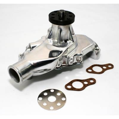 "Cooling - Water Pumps - KMJ Performance Parts - Small Block Chevy 350 High Volume Short Aluminum Water Pump Polished 5/8""; Pilot"