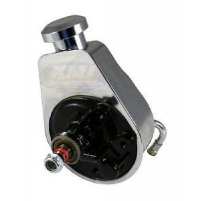 Steering - Power Steering Pumps & Accessories - KMJ Performance Parts - SBC Chevy Chrome Saginaw Style Power Steering Pump Bolt On Pulley A-Can Style