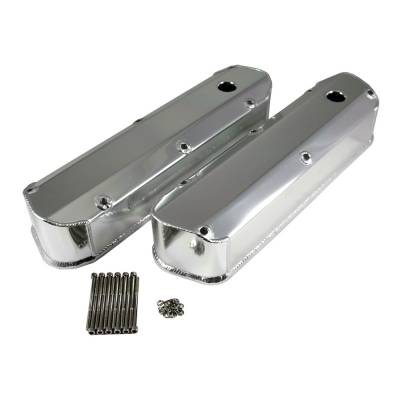 Valve Covers & Accessories - Street Valve Covers  - KMJ Performance Parts - 62-85 SBF Ford 289 302 351W Long Bolt Polished Fabricated Aluminum Valve Covers