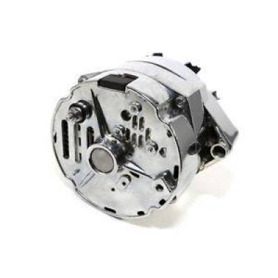 Ignition & Electrical - Alternators and Brackets - KMJ Performance Parts - Rebuilt GM Olds Delco Style Chrome 1 One Wire SBC Chevy Alternator 110 AMP