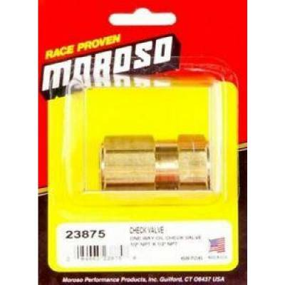 "Oil Pans & Components - Accumulators & Restrictors - Moroso - Moroso 23875 Brass One Way Oil Check Valve 1/2"" NPT Female to 1/2"" NPT Female"
