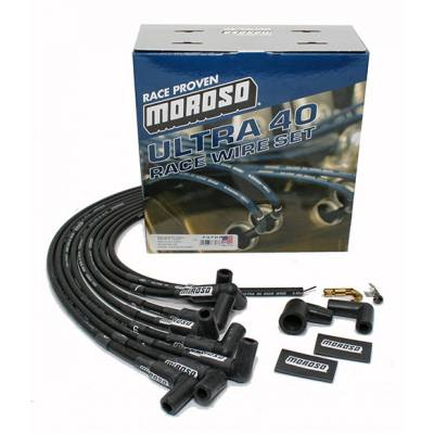 Moroso - Moroso 73707 Black Ultra 40 Spark Plug Wires SBC Small Block Chevy Over VC HEI