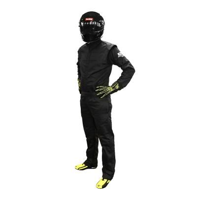 Driving Suits - Velocita Race Suits - Velocita - Velocita DS4 Medium Black 1pc VR2 Double Layer SFI 3.2a/1 Rated Logo Fire Suit
