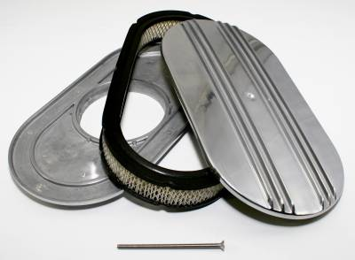 """Air Filters & Cold Air Intakes - Air Cleaner Assemblies & Accessories - Assault Racing Products - 15"""" Half Finned Polished Aluminum Oval Retro Air Cleaner Kit Assembly w/ Element"""