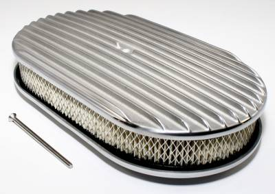 """Assault Racing Products - 15"""" Full Finned Polished Aluminum Oval Retro Air Cleaner Assembly Kit w/ Element"""