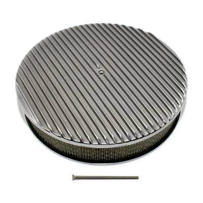 """Air Filters & Cold Air Intakes - Air Cleaner Assemblies & Accessories - Assault Racing Products - 14"""" x 3"""" Full Retro Finned Round Aluminum Air Cleaner Assembly Kit w/ Element"""