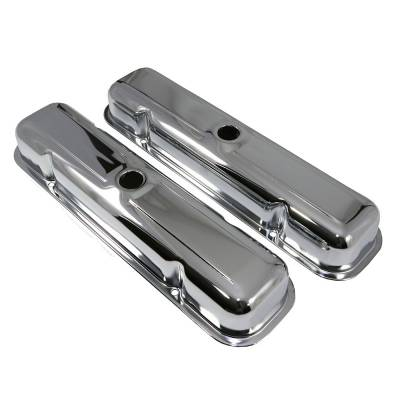 Valve Covers & Accessories - Street Valve Covers  - Assault Racing Products - 59-81 Pontiac V8 Short Chrome Steel Valve Covers - 301 350 389 400 421 428 455