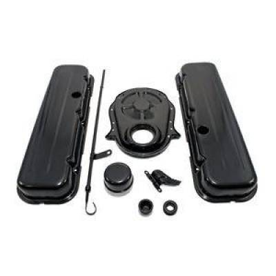 Engine Components & Valvetrain - Dress-Up Kits - Assault Racing Products - 65-95 BBC Chevy 454 Black Dress Up Kit Short Valve Covers 396 402 427 Big Block